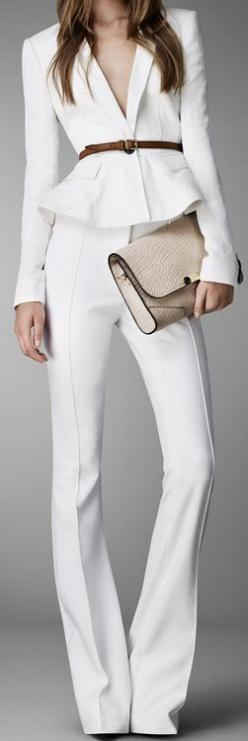 Burberry white suit. I'd wear with a snug white tee or shell, for a more conservative look.: Fashion, Style, White Outfit, White Suits, Work Outfit, Pantsuit, London 2013, Burberry London