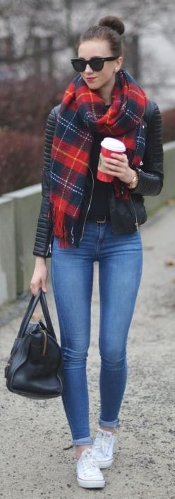 Casual - black leather jacket, black top, tartan scarf, blue skinny jeans, white converse, black handbag.: Casual Outfit, Casual Fall Outfit, Autumn Outfit, Winter Style, Casual Winter Outfit, Leather Jacket Outfit, Winter Outfits Casual, Spring Outfit