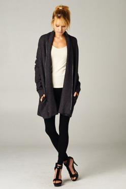 Claudia Cardigan on Emma Stine Limited - vegan leather trip? hmm dont think so but i like this sweater!: Fashion Footwear Jewelry, Style, Comfy Fall Sweaters, Black Cardigan, Claudia Cardigan, Cardigan I D, Chateau Sweater, Big Cardigans