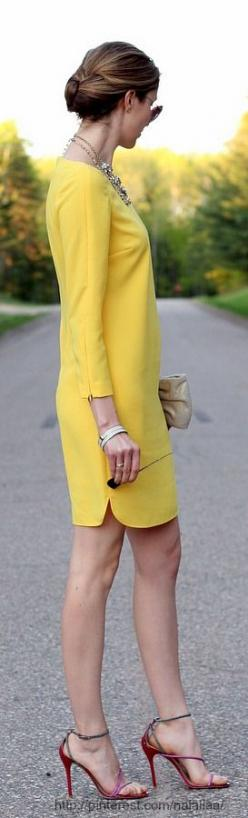 Cocktail chic...summer yellow. ::M::: Summer Cocktail Dress, Yellow Dresses, Sheath Dress, Street Styles, Chic Summer, Fall Color, Chic Dress