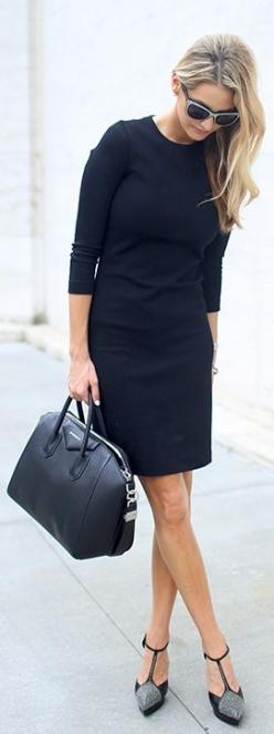 Love this simple black work dress. Can do so many things w accessories to change it up.: Simple Black Dress, Fashion, Street Style, Sheath Dress, Little Black Dresses, Work Style, Work Outfits, Classic Black