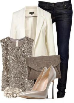 Perfect for a celebration...not quite so high on the heel for me. Really like this, though!: Party Outfit, Fashion, White Blazers, Style, Holiday Outfits, Night Outfit, Sparkle, New Years