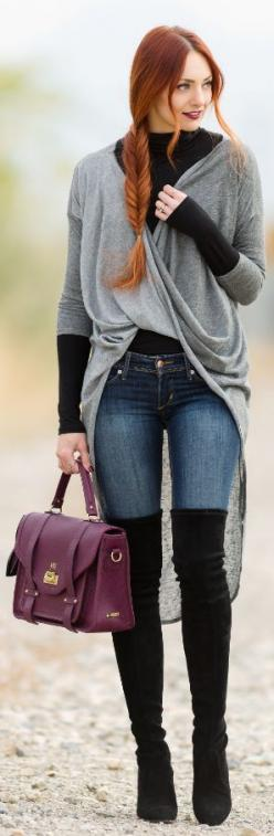 Street style chic/karen cox...Grey Long Line Wrap Cardigan: Redhead Outfit, Fashion Style, Street Style, Thigh Boots Outfit, Knee High Boots Outfit, Knee High Boot Outfit, Winter Fashion, Thigh High Boots Outfit, Wrap Cardigan