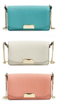 Trying to decide between aqua, white or pink. These Burberry  beauties even come equipped with a twinkling chain strap for day-to-night versatility.: Burberry Beauties, Aqua White, Color, Leather Wallets, Outfit, Bags Clutches, Burberry Madison