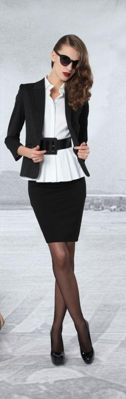 work outfit. Black and white: Office, Women S Fashion, Idea, Style, Black And White, Dress, Work Outfits