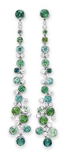 A PAIR OF DIAMOND AND MULTI-COLORED TOURMALINE EAR PENDANTS, BY TIFFANY & CO. #tiffany tiffany jewelry box ceramic