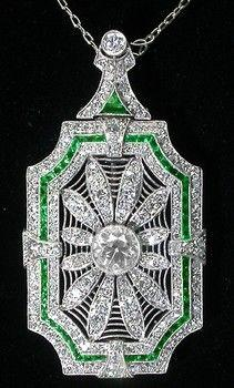 Art Deco 5ct Diamond & Emerald Platinum Pin/ Pendant Necklace