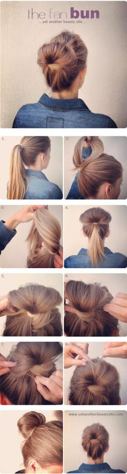 Easy bun hairstyle: Hair Ideas, Hairstyles, Hairdos, Hair Styles, Makeup, Hair Tutorial, Hair Do, Updos, Easy Updo