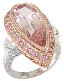 Pink Beryl, Pink Sapphire, and Diamond Ring