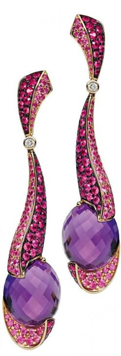 Pink sapphire, amethyst and diamond earrings by Rodney Rayner, cijintl