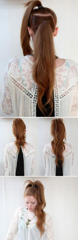 The Illusional Crazy Long Mane Ponytail | 23 Five-Minute Hairstyles For Busy Mornings: Pony Tail, Hairstyles, Hair Styles, Long Ponytail, Five Minute Hairstyle