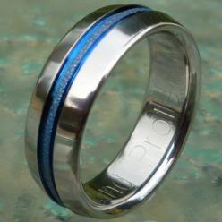 Thin Blue Line and Frost Titanium Wedding by TitaniumRingsStudio, $249.00