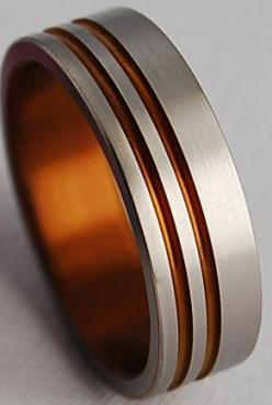 titanium mens wedding band with orange inlay