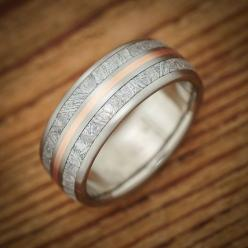 Titanium Meteorite Rose Gold Pinstripe Wedding Band from Spexton Custom Jewelry