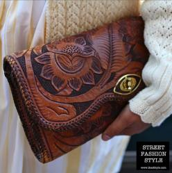 Leather Crafted Clutch - San Francisco