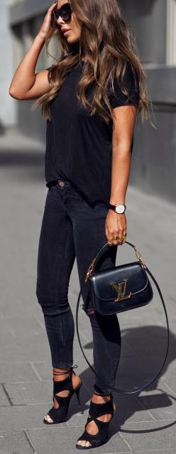 All black everything.: Chic Outfit, Fashion Style, Black Jean Outfit, Lv Bag, Street Style, Jeans Outfit, Hair Color, Casual Heels Outfit, All Black Outfit