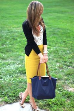 Business Casual - Skirts/Dresses - Imgur: Classy Outfit, Mustard Skirt, Polka Dots, Yellow Skirts, Yellow Pencil Skirt, Black Cardigan, Teacher Outfit, Pencil Skirts, Work Outfits