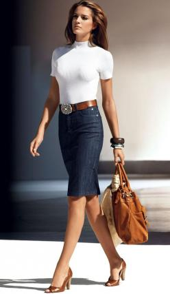 Denim pencil skirt.... Love this outfit !! Maybe one day if I ever lose               ?#? pounds.. you will see me in this..: Women S, Casual Friday, Fashion Style, Denim Pencil Skirt, Jean Skirts, Pencil Skirts, Work Outfit, White Top, Denim Skirts