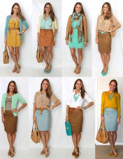 fall color scheme. Love this blog, she takes looks from magazines and recreates them from stores that people like you and me shop at.: Outfit Ideas, Color Combos, Blue Pencil Skirts, Work Outfits, Spring Outfit, Color Combination, Fall Color