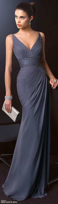 Fashion and glamour | Pretty lady in an elegant evening gown | Dress to impress | http://thepageantplanet.com/category/pageant-wardrobe/: Elegant Evening Dress, Grey Evening Gown, Elegant Evening Gown, Prom Dress, Gorgeous Dress