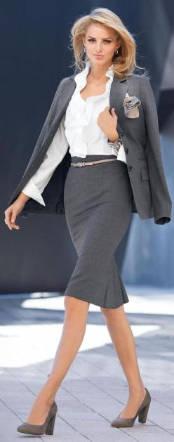 I like the ruffle detail on the skirt and I like the belt at that waist.: Women S, Grey Suits, Business Attire, Workoutfit, Work Outfit