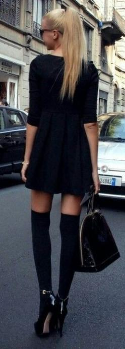 Louis Vuitton: Knee High, Thigh High, All Black, High Socks, Street Style, Knee Socks, Black Dress, Kneehigh