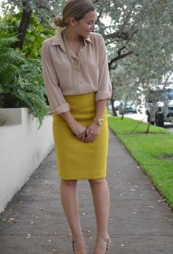 Only with my teal skirt.: Work Clothes, Mustard Skirt, Fall Pencil Skirt Outfits, Yellow Skirts, Yellow Pencil Skirt, Mustard Pencil, Pencil Skirts, Work Outfits