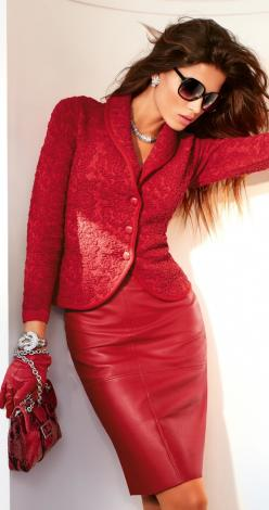 RED... everyone needs one red suit.  Shiny is for the younger set; matte finish for those of us over 40 or the young ones who want a forever suit: Leather Skirts, Red Red, Red Suit, Madeleine Fashion, Red Outfit, Women, Red Leather, Red Hot