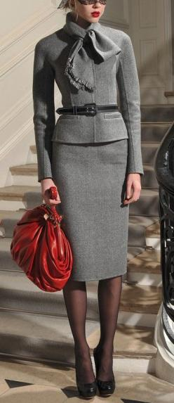Winter is my favorite season, esp for clothes, and this suit helps explain that.  I think that sometimes more coverage is sexier than anything else. #creditmissing: Pencil Skirt Outfits For Work, Grey Suits, Business Outfit, Gray Suits, Pencil Skirts, Wor