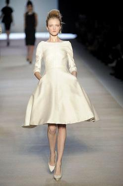 without sleeves it would be reminiscent of audrey's dress at the end of 'funny face'.  lurve.: Wedding Dressses, Short Winter Wedding Dress, Short Wedding Dresses, Lovely Dress, Boat Neck Wedding Dress, Conservative Wedding Dress, Boat Neck Dr