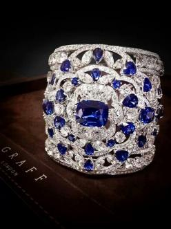 A sculptural diamond and sapphire cuff by Graff PS. See more similar content at: http://www.fashionisly.com