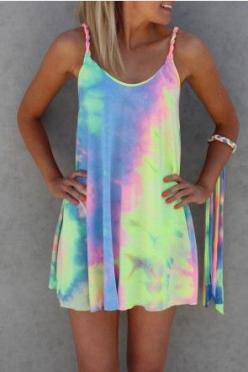 Gypsy Tie Dye Dress This Tie Dye Dress is perfect for summer at the beach, festivals and to fill you day with coloured happiness!     PLEASE NOTE: As this garment is a Tie Dye style each one is unique and will be a different pattern shown. Length approx 5
