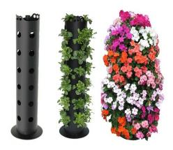 Lowes sells the 4 to 6 round PVC pipe with holes already drilled. Purchase an end cap, fill with rock, soil, and plant. You can put these in the center of a very large pot to stabilize, and add amazing height and color to a container that has trailing pla