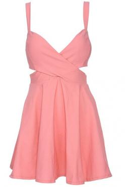 Pink Cut-out Crossed Cami Dress