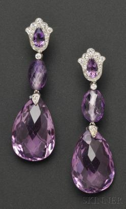 Platinum, Amethyst, and Diamond Earpendants, Cartier, each shaped top set with pear-cut amethyst and suspending faceted drops, full and single-cut diamond accents, lg. 2 1/8 in., no. 2818369, signed, (alterations).