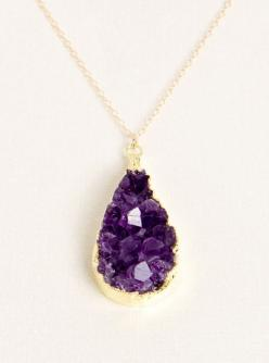 Raw Amethyst Cluster Pendant by Simona V / http://a-thread.com/collections/necklaces/products/simona-v-amethyst-cluster-tear-drop?medium