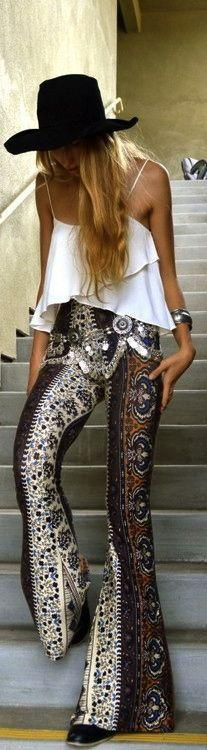 Sexy boho chic hat, layered white modern hippie blouse & gypsy print pants with jingly belly dander belt. For MORE Bohemian fashion looks FOLLOW http://www.pinterest.com/happygolicky/the-best-boho-chic-fashion-bohemian-jewelry-gypsy-/