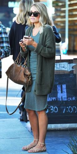 Shop Lauren Conrad's exact dress and sweater combo, both on sale! // cute Fall outfit