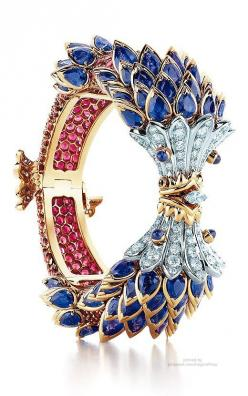 Tiffany Fish Bracelet ~ sapphires, red spinels and diamonds #PurelyInspiration