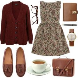 """coffee and book"" kind of days. really love this bag.  I would wear ALL of this to work.: Librarian Outfit, Vintage Fall Outfit, Library Outfit, Hipster Work Outfit, Vintage Outfit, Vintage Bag, Hipster Outfits For School"