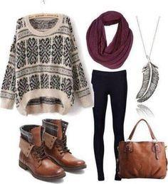 A cream and black patterned, over-sized, knit sweater over some black leggings paired with a maroon infinity scarf and brown leather combat boots. Accessories: a matching brown leather handbag and a low hanging feather necklace.: Falloutfit, Outfit Idea,