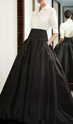A white blouse and a taffeta skirt is always a classic: White Shirts, Outfit, Black Skirts, Carolina Herrera Dress
