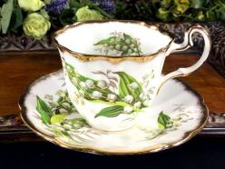 Adderley Heavily Decorated Tea Cup and Saucer, Lily Of The Valley, High Handled Tea CupThis beautiful set is in great vintage condition. There are no chips, cra: Alta Tea Cups, China Flateare, Tea Cupthis, Teacup Saucer, Valley Teacup, Timeless Teacup