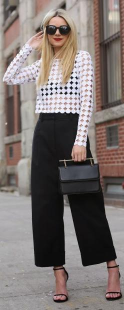 Alexis | White Polka Dot, Crocheted Blouse by Atlantic-Pacific.: Culottes Outfit, Cute Outfits, Culottes Street Style, Black White, Street Styles, Black And White Outfits, Black Culottes, Work Outfit