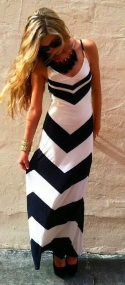 Amazing Black  White Sleeveless Maxi Dress for Stylish Women World of Women Fashion find more women fashion on www.misspool.com: Maxi Dresses, Summer Dress, Black And White, Dream Closet, White Maxi, Maxidress, Chevron Maxi Dress, Black White, White Chevr