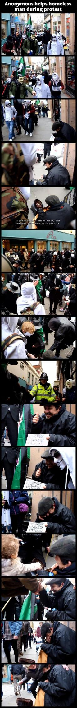 Anonymous helping a homeless guy…i love how there is one main guy fawks mask...the rest are white. HE IS THEIR LEADER xD: Anonymous Mask, Anonymous Helping, Anonymous Ftw, Faith In Humanity Restored, Anonymous Kind, Homeless Guy, Anonymous Helps, Beautifu