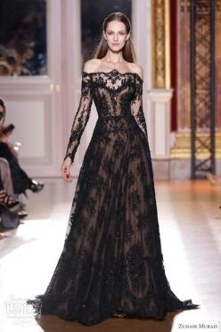 black lace: Black Lace, Black Wedding, Long Sleeve, Prom Dress, Wedding Dress