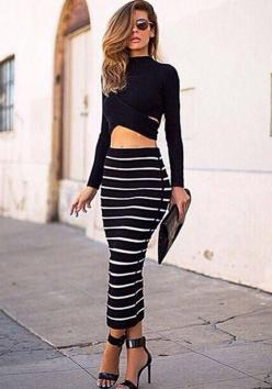 Black White Striped 2-in-1 Crop Bodycon Bandage Club Party Sexy Dress: Sexy Birthday Outfit, Crop Tops, Night Outfit, Long Sleeve, Two Piece, Maxi Skirts