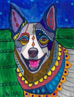 Blue Heeler (Australian Cattle Dog) with a beautiful soul: Cattledogs Blue Heelers, Colorful Dogs, Art Blue, Australian Cattle Dog Art, Cattle Dogs, Heeler Dog