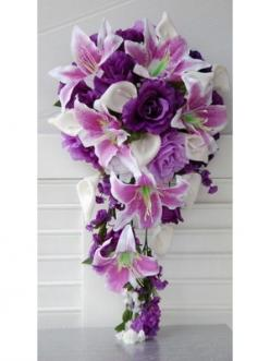Calla lily, Purple, Lavender and White Wedding Bridal Cascade Wedding Bouquet: Lavender Rose, Wedding Ideas, Wedding Bouquets, Calla Lilies, Wedding Flowers, Purple Wedding